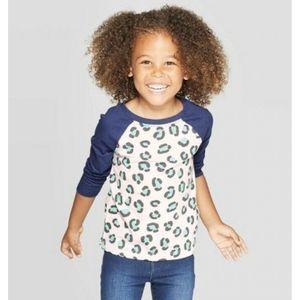 Cat & Jack Girl's Raglan T-Shirt, 2T - New!